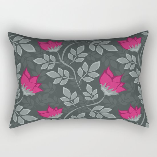 Bright pink flowers on gray Rectangular Pillow