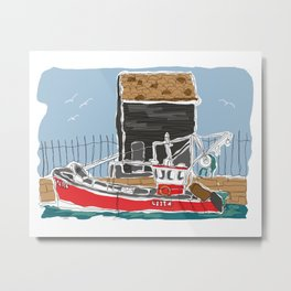 Red Fishing boat at the quay illustration  Metal Print