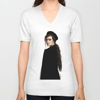 emma watson V-neck T-shirts featuring Emma Watson by Cécile Pellerin