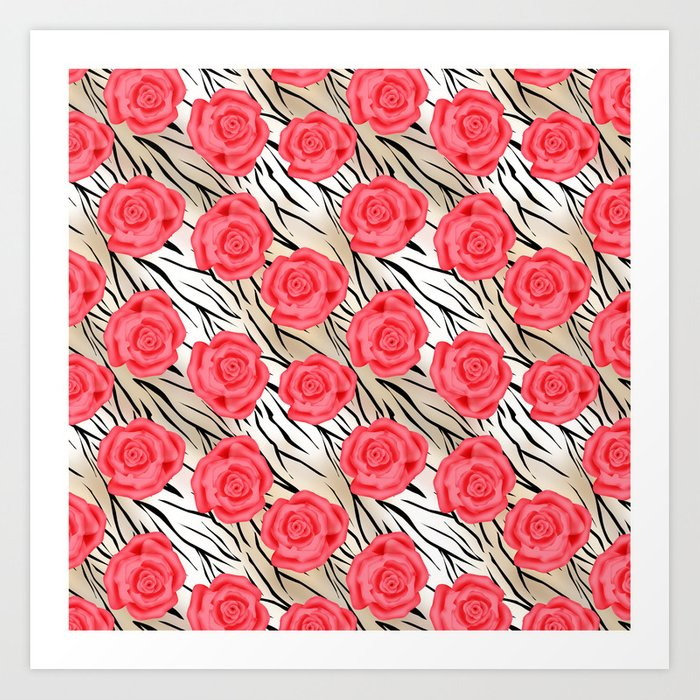 Red roses on a light tiger background . Art Print