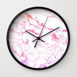 Modern pink purple watercolor white marble pattern Wall Clock