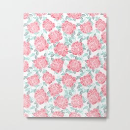 Peony Floral flower garden nature illustration painting free spirit boho college girly pink pastel  Metal Print