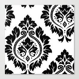 Decorative Damask Art I Black on White Canvas Print