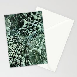 Faux pearly crocodile texture on green marble Stationery Cards