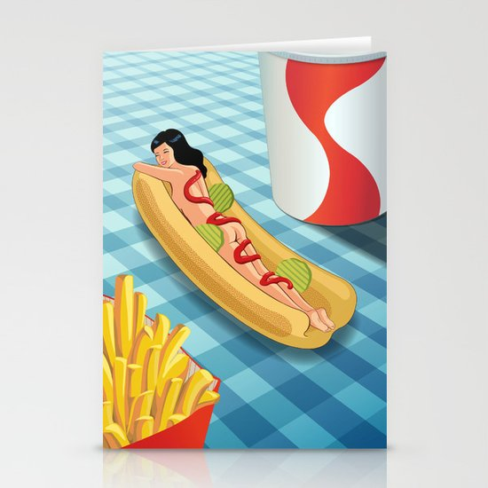 Hot Dog Girl Stationery Cards