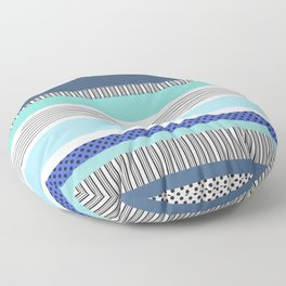Striped Pattern Shades of Blue with Polka Dots Floor Pillow