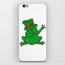 Dabbing St Patrick_s Day Frog Leprechaun Pot Of Gold iPhone Skin