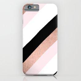Modern trendy black blush pink rose gold geometric stripes pattern iPhone Case
