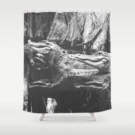 American Alligators Black and White Photography Shower Curtain