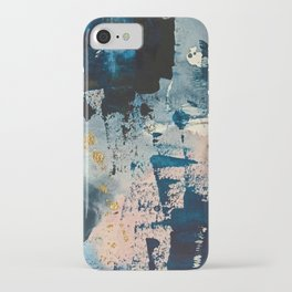 Pleiades: a minimal, abstract mixed media piece by Alyssa Hamilton Art in Pink, Gold, and Blue iPhone Case