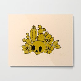 Skull and Cactus Metal Print