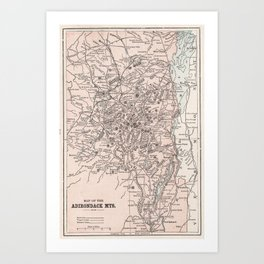 Vintage Map of The Adirondack Mountains (1901) Art Print