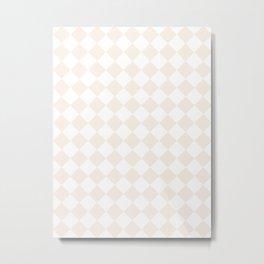 Diamonds - White and Linen Metal Print