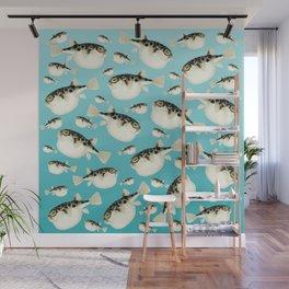 Puffer Fish watercolor Pattern Teal Wall Mural
