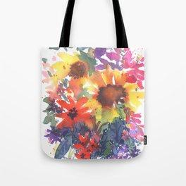 Rainy Day Sunflowers Tote Bag