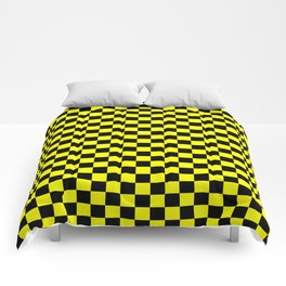 Yellow Black Checker Boxes Design Comforters