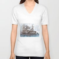 boats V-neck T-shirts featuring Boats by Marine Koprivnjak