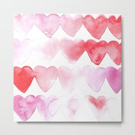 Abstract Hearts Metal Print