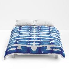 Shibori Vivid Indigo Blue and White Comforters