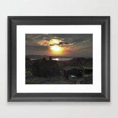 Sunset and Cabin Framed Art Print