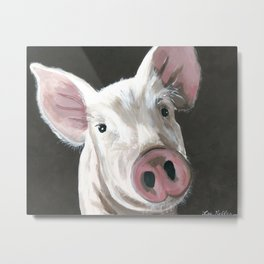 Petunia the Pig art print from original pig painting Metal Print