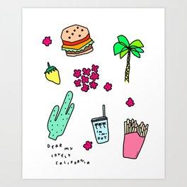 Dear My Lovely California - southwest palm springs beach sun city los angeles retro pop art Art Print
