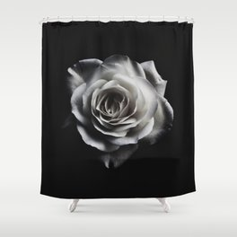 Rose Petal blossom black and white floral photograph / art photography Shower Curtain