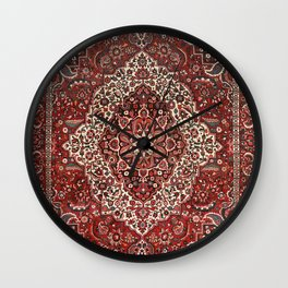 Persian Bakhtiari Old Century Authentic Colorful Deep Dark Red Tan Vintage Patterns Wall Clock