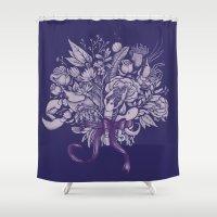 victorian Shower Curtains featuring Undersea Victorian by Lidija Paradinović Nagulov - Celandine
