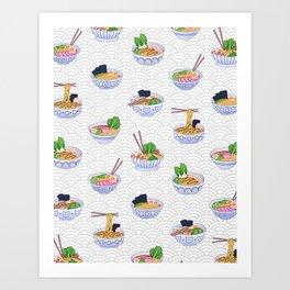 Send Noods - Ramen Noodles On Grey and White Art Print