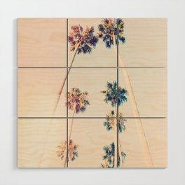 Vintage Pastel Palm trees Wood Wall Art
