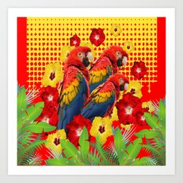 GREEN TROPICAL YELLOW MACAWS & RED YELLOW HIBISCUS Art Print