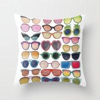 sunglasses Throw Pillows featuring Sunglasses by Veronique de Jong