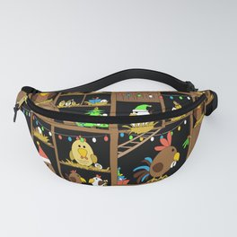 Chicken Coop Christmas - by Kara Peters - funny chickens, holidays Fanny Pack