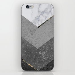 Marble Gray Copper Black Gold Chevron iPhone Skin