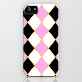 Rhombus in white, pink, black colors, with golden frame. iPhone Case