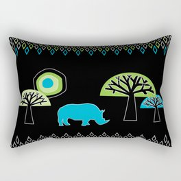 African Rhino (Cool colors) Rectangular Pillow
