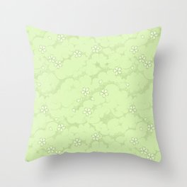 Kumori Nochi Sakura: Green Throw Pillow