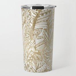 Elegant gold foil bohemian aztec feathers Travel Mug