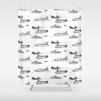 ships Shower Curtains featuring Mediterranean Ships by EVILJAZZMIDGET