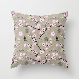 Japanese Spring Throw Pillow