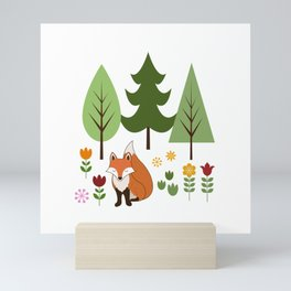 Scandinavian Fox Flowers Trees Illustration Mini Art Print