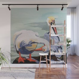 Preening Pelicans Wall Mural