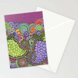 Paisley Grapes abstract Stationery Cards