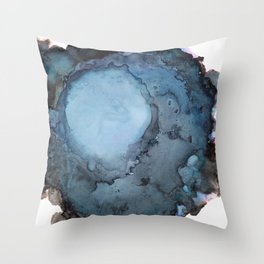 Black and Blue Vortex Ink Painting Throw Pillow