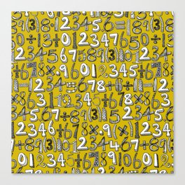 math doodle yellow Canvas Print