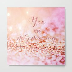 Mermaid pink glitter typography - You are mermazing Metal Print