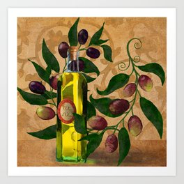 Olives and Italian Olive Oil Art Print