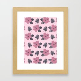 Hibiscus in Pink and Navy Framed Art Print