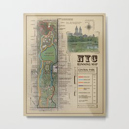"NYC's Central Park [Vintage Inspired] ""San Remo"" Running route map Metal Print"